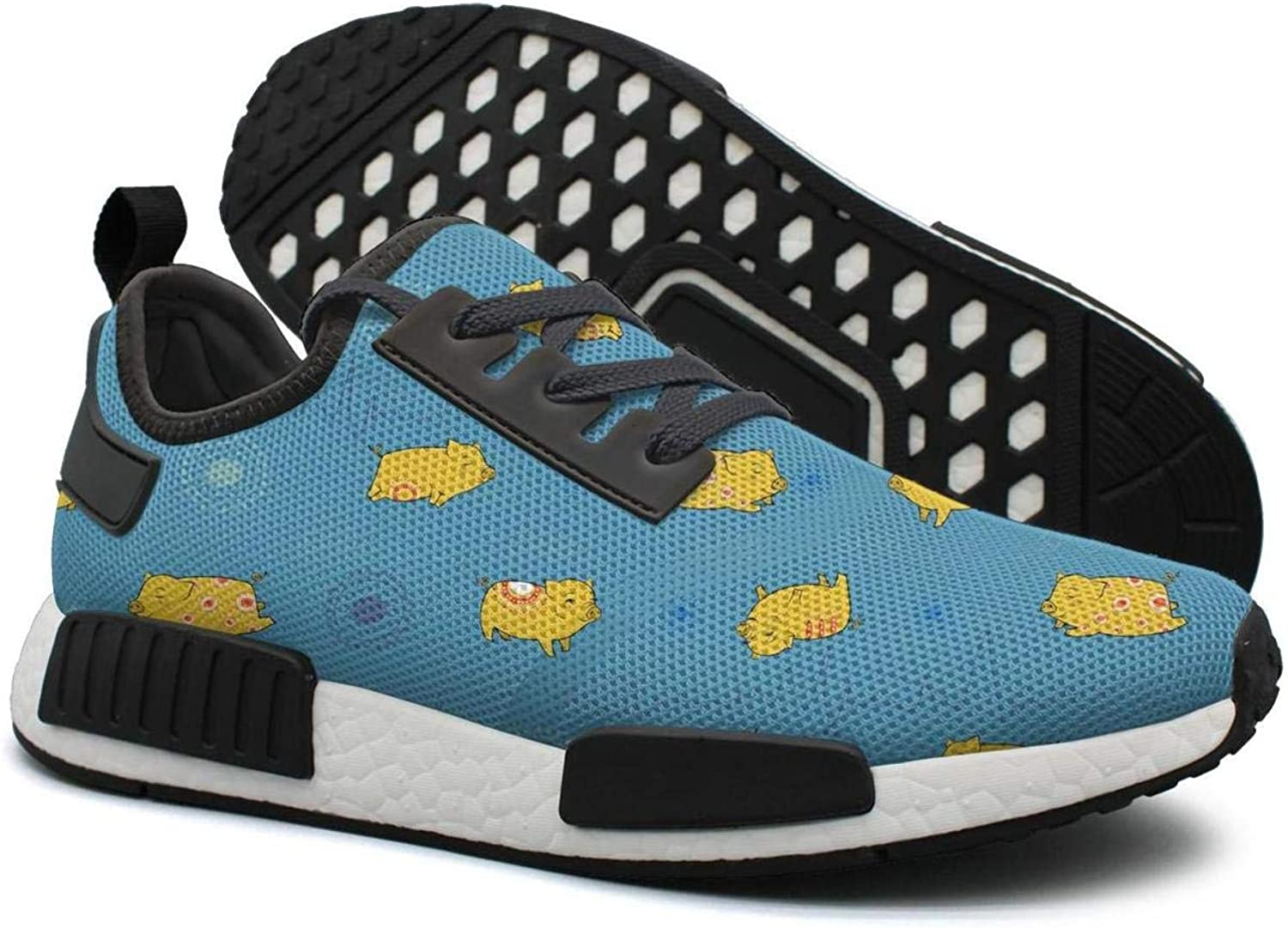 Yellow Happy Pigs with bluee Indian Background Women's Trendy Lightweight Sneaker Gym Outdoor Tennis shoes