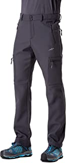 Men's Softshell Fleece-Lined Insulated Pants Snow Pants, Water-Repellent and Windproof