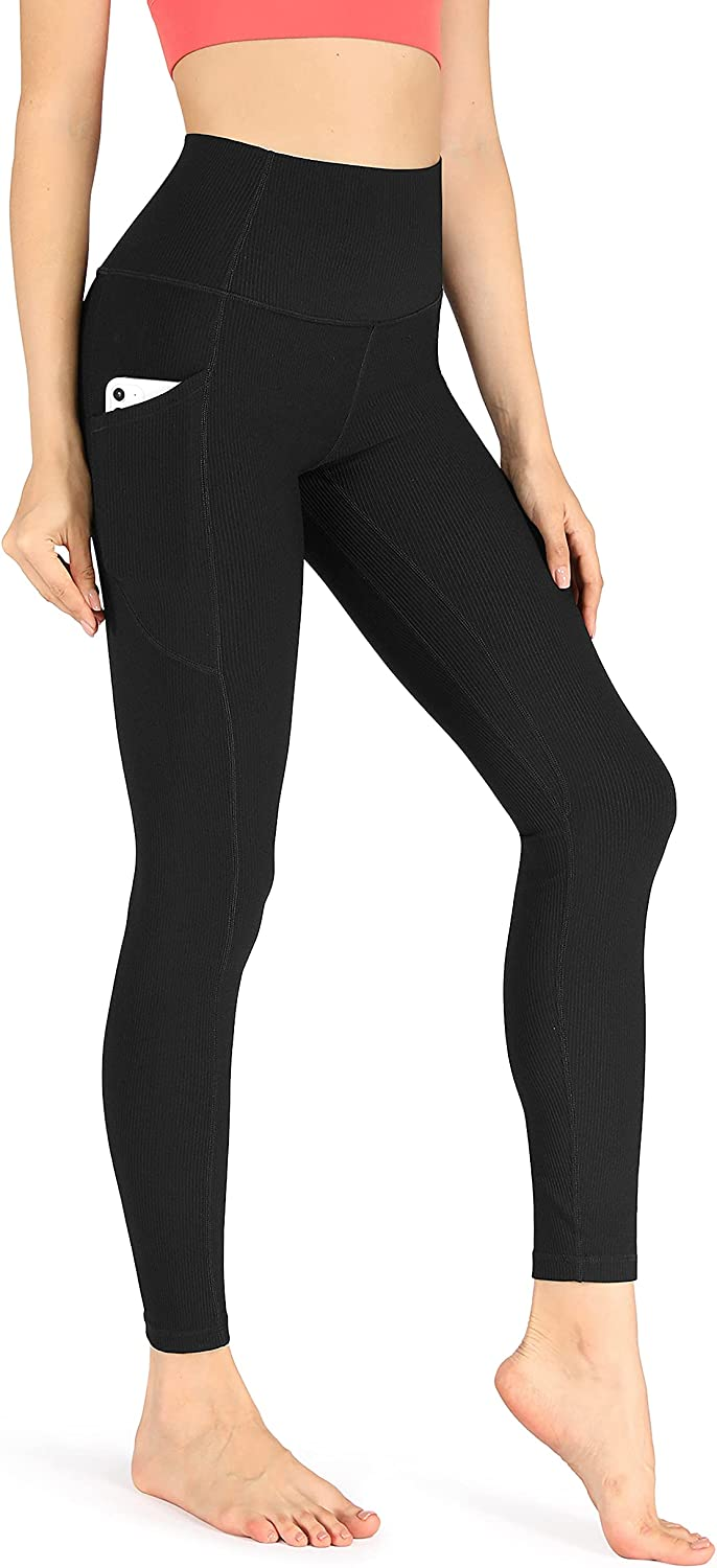 ODODOS Women's High Waisted Yoga Leggings with Pockets,Tummy Control Non See Through Workout Athletic Running Yoga Pants