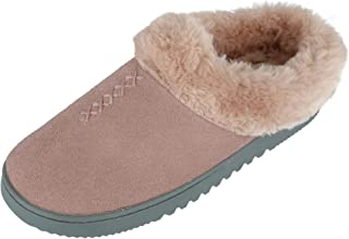 Dearfoams Women's Genuine Suede Clog Slippers with Stitch Detail, 10, Dusty Pink