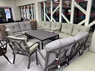 Yulan Outdoor/Indoor Aluminum Sofa Set with Chair, Ottomon & Table with Cushion Grey 810