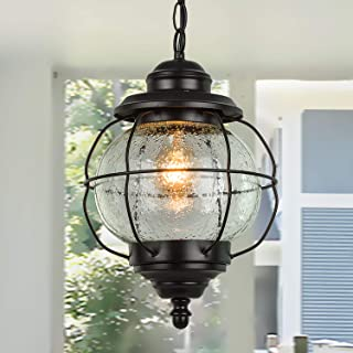 LALUZ 1 Light Outdoor Hanging Lantern Porch Light in Painted Black Metal with Clear Bubbled Glass Globe in Iron Cage Frame, 10.2
