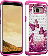 NVWA Compatible Samsung Galaxy S8 Plus Case, S8+ Case [Heavy Duty] Tough Dual Layer 2 in 1 Rugged Rubber Hybrid Hard Soft TPU Back Protective Cover Coloured Drawing Glitter Crystal - Rose Butterfly