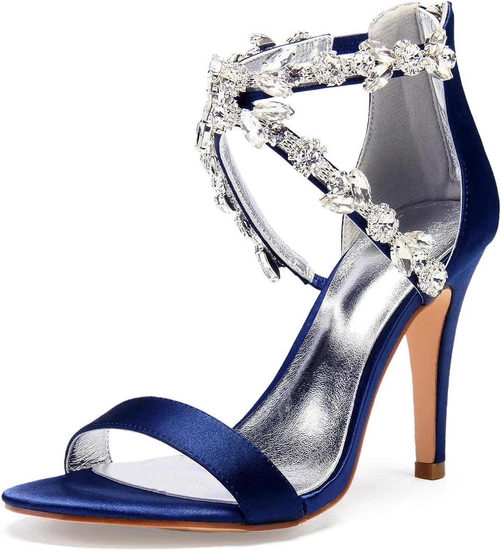 L@YC Frauen Hochzeit Schuhe Runde Zehenriemen Party Mitte Ferse Strass Strass Strass Peep Toe Satin Reißverschluss High Heel   36-42 Größe  3b662b