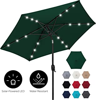 Best Choice Products 7.5ft Outdoor Solar Market Table Patio Umbrella for Deck, Pool w/Tilt, Crank, LED Lights - Green