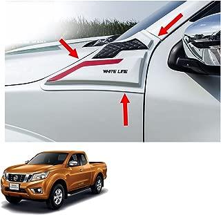 Powerwarauto Side Hood Vent Simulator White Red Trim 2 Pc Trim For Nissan Np300 Navara D23 Hi-Lift Body 2Dr 4Dr 2015 2016 2017 2018