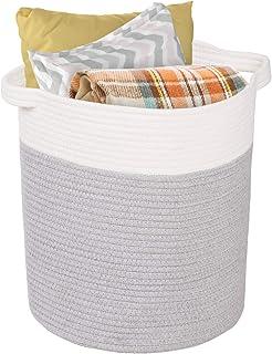 Syeeiex Panier en corde de coton pour le rangement de 40,6 cm (H) x 35,6 cm (l) - Panier de rangement décoratif tissé avec...