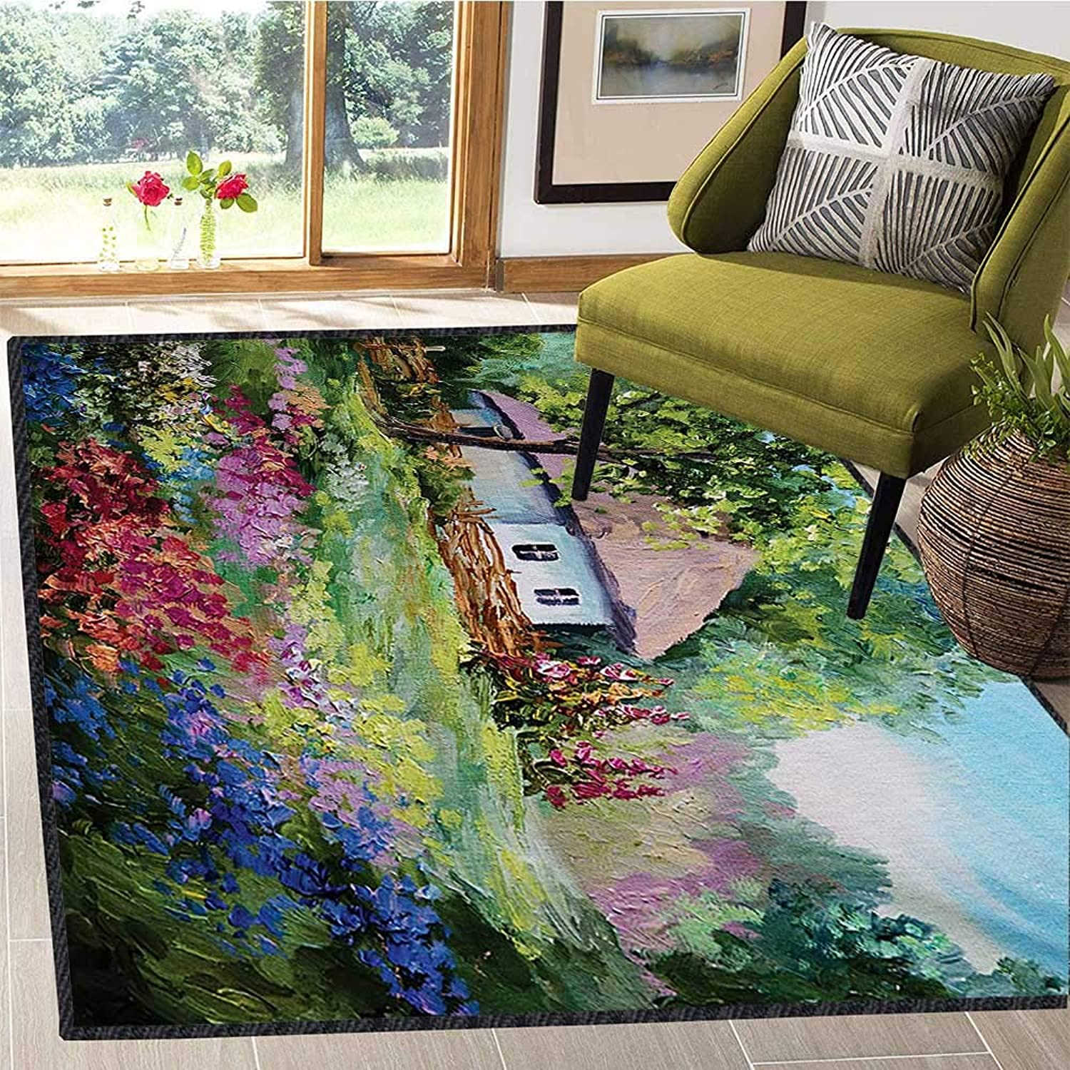 Rustic, Room Home Bedroom Carpet Floor Mat, Artistic Stone House and Small Garden with Wooden Fence colorful Spring Flowers, Door Mat Outside 4x6 Ft Multicolor
