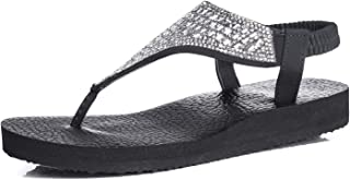 Womens Flip Flops Yoga Sling Rhinestones Flat Sandals Comfort Shoes