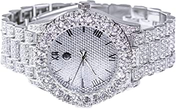 14k White Gold Plated Iced Out Techno Pave Men Watch, Cuban Chain & Bracelet Set