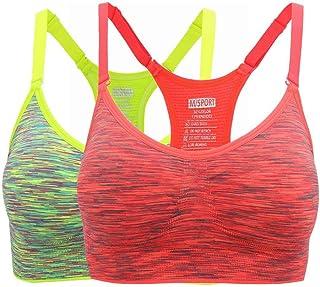 Henny Rue Women's Comfort Sports Bra Low Support Workout Yoga Bras (L 34D 36C 36D 38C 38D 40B, 2 Pack Green/Rose)