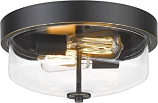 Emliviar Ceiling Light Fixture with Clear Glass Shade - Indoor Outdoor Flush Mount Ceiling Light 12 Inch, Black Finish, TE...
