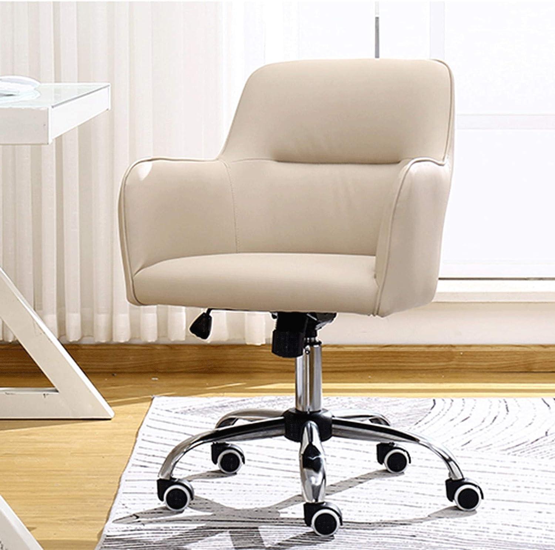 QHF Siège d'ordinateur Ergonomique à Dossier Moyen Chaise de Bureau réglable rembourrée Douce adaptée à la Maison et au Bureau Beige