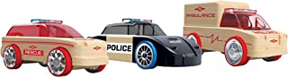 Automoblox Collectible Wood Toy Cars and Trucks—Mini S9 Police/X9 Fire/T900 Rescue 3-Pack (Compatible with other Mini and Micro Series Vehicles) (53106)