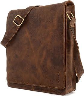 LEABAGS Messenger Bag/Umhängetasche/Schultertasche aus echtem Büffelleder - ideal für A4 & iPad -Vintage-Unisex- Büro, Studium oder Freizeit -London CrazyVinkat