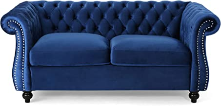 Christopher Knight Home Karen Traditional Chesterfield Loveseat Sofa, Navy Blue and Dark Brown, 61.75 x 33.75 x 27.75