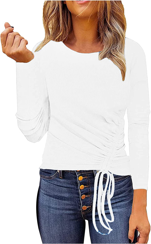 JPLZi Women's Casual Long Sleeve Tunic Tops Side Drawstring Ribbed-Knit Sweatshirt Solid Slim Fit Shirts Blouses Tops