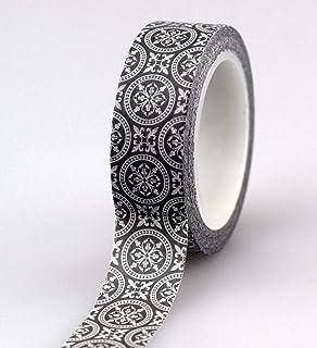 CHZDSB Washitejp den svarta cirkelns geometri stil dekorativ washitejp gör-det-själv scrapbooking maskeringstejp skola kon...