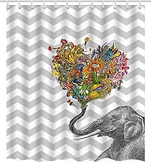 BROSHAN Chevron Decor Shower Curtain Set, Modern Elephant Flowers on Grey and White Chevron Zig Zag Striped Pattern Art Print, Funny Polyester Waterproof Fabric Bathroom Decor Set, 72 Inches Long