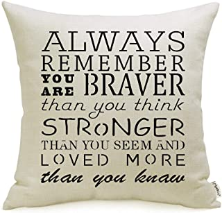 Meekio Inspirational Gifts Decorative Pillow Covers with Always Remember You are Braver Than You Think Positive Saying Quotes 18 x 18 inch