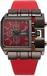 OULM 3364 Brand Original Rectangle Unique Design Men Wristwatch Wide Dial Leather Strap Quartz Watch