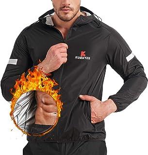 KUMAYES Sauna Suit for Men Sweat Sauna Jacket Weight Loss Workout Shirt Gym Fitness Long Sleeve Sweat Suits Zipper with Hood