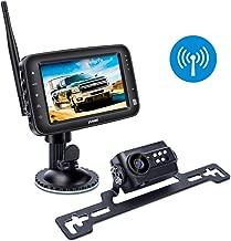 Wireless Backup Camera System, IP69k Waterproof Wireless License Plate Rear View Camera, Night Vision and 4.3 inch Wireless Monitor for Trailer, RV, Trucks, Pickup Trucks, Cargo Vans, etc