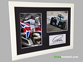Signed White Lewis Hamilton 2015 F1 CHAMPIONSHIP CELEBRATION Autographed Photo Photographed Picture Frame A4 12x8 Motor Sport F1 Formula 1 Gift