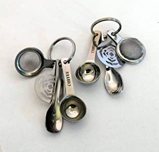 Mini Coffee Tools Key Chain Ornaments Bundle Set of 2 With 4 Utensils Each