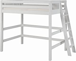 Camaflexi Mission Style Solid Wood High Loft Bed, Twin w/ End Angled Ladder, White