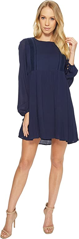American Rose - Olivia Long Sleeve Dress with Lace Detail