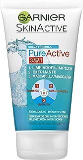 Garnier Skin Active Pure Active Gel 3 en 1 para Pieles Mixtas a Grasas Limpiador Exfoliante y Mascarilla 150 ml