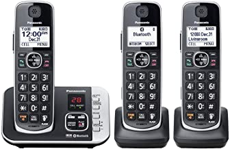 Panasonic KX-TGE663B Cordless Phone with Link to Cell and Digital Answering Machine, 3 Handsets - Black (Renewed) photo