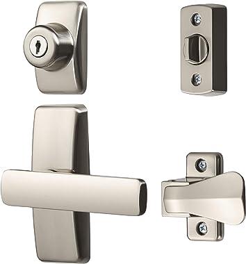 Ideal Security LSAJGLKSN AJ Lever Latch Keyed Deadbolt Handle Set, Satin Nickel