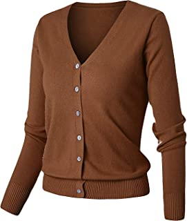 GIVON Womens Button Down Crew Neck Long Sleeve Soft Cashmere Blend Knit Cardigan Sweater
