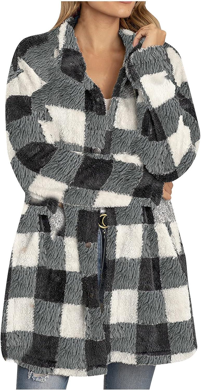 Womens Plaid Faux Shearling Coat Warm Lapel Coat Winter Sherpa Open Front Button Jacket Outerwear Overcoat