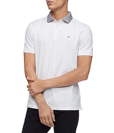 Calvin Klein Short Sleeve Liquid Touch Polo Shirt (Brilliant White Combo) Men