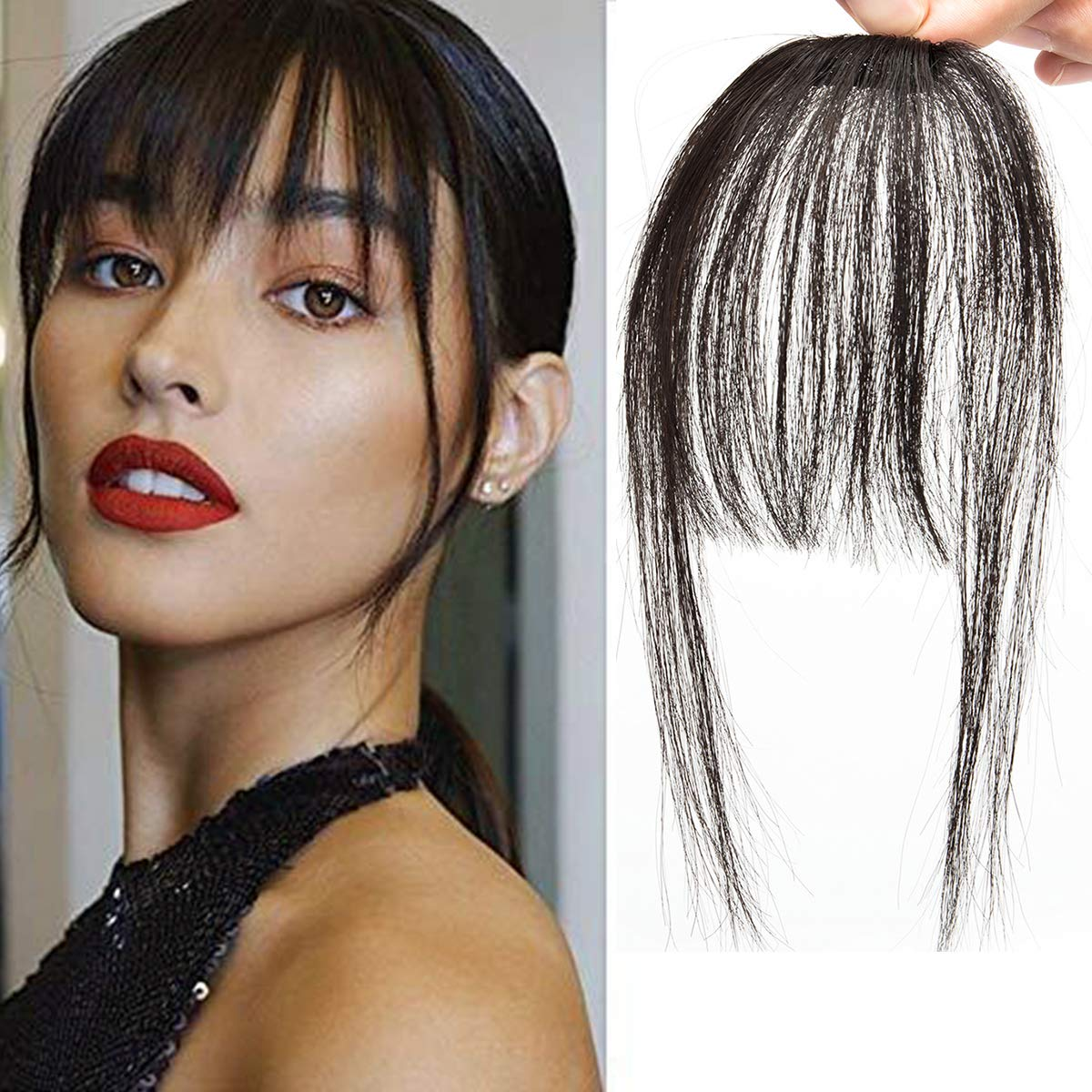 DODOING 12PCS Clip in Bangs Hair Extensions Human Hair Air Bangs with  Temples One Piece Clip on Front Bangs Hairpiece 12% Human Real Hair Fringe