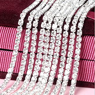 Crystal Rhinestone Silver Trim Ribbon Craft DIY Wedding Dress Bag Sewing Decor