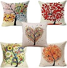 YONGAN Cotton Linen Cushion Cover Home Decor Throw Sofa CarPillow Case Tree and Bird 18X18 Set of 5