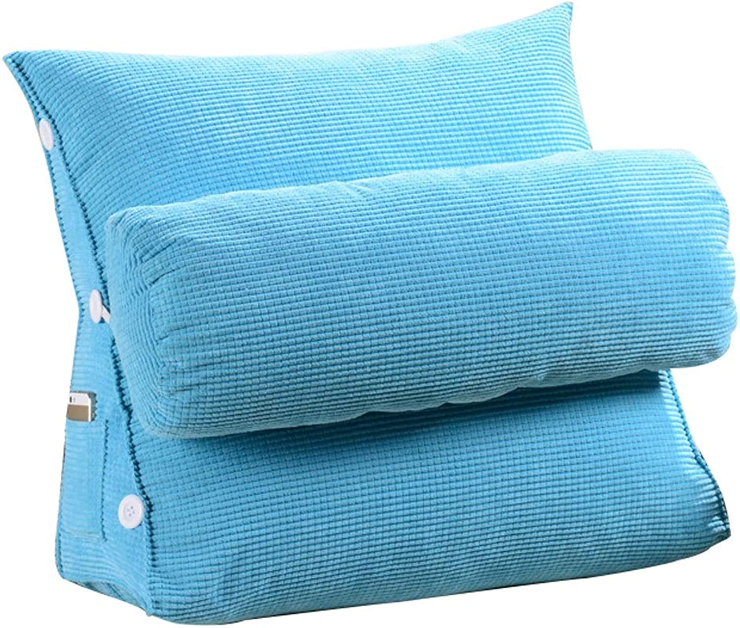 Triangle pad backrest pad Velvet Pillow Sofa Bed Office Chair Rest cushion (color   Light bluee, Size   L)
