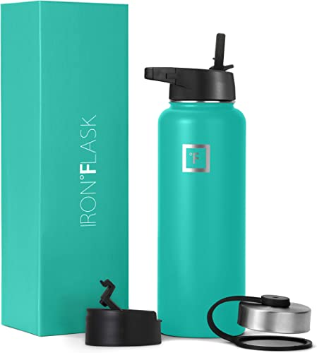 Iron Flask Sports Water Bottle - 18oz, 22oz, 32oz, 40oz, or 64oz, 3 Lids, Vacuum Insulated Stainless Steel, Hot Cold,...