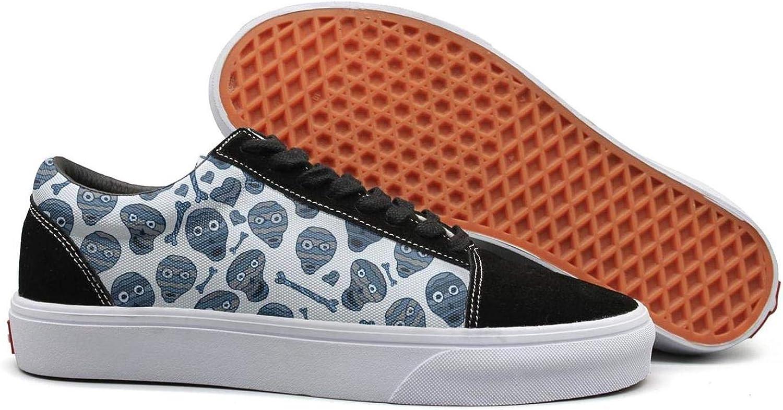 Winging Womens Indian Skull bluee Cute Suede Canvas shoes Old Skool Sneakers