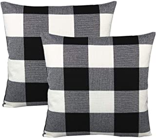 Black White Buffalo Plaids Decorative Throw Pillow Covers Outdoor Fall Farmhouse Retro Checkers Cotton Linen Square Cushion Cases Home Decor Classic Rustic Check for Sofa Couch Patio 18x18 Set of 2