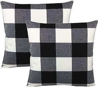 VAKADO Black White Buffalo Plaids Decorative Throw Pillow Covers Farmhouse Retro Check Checkers Cotton Linen Square Cushion Cases Home Decor Outdoor for Sofa Couch Patio 18x18 Set of 2