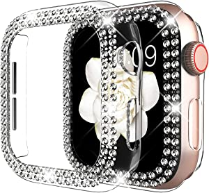 DABAOZA Compatible for Apple Watch 38mm Case Cover Bumper , Bling Women Girls Protective Cover Dressy Diamonds Crystal Bumper Hard PC Shockproof Rhinestone Case for iWatch 3 2 1(Clear,38mm