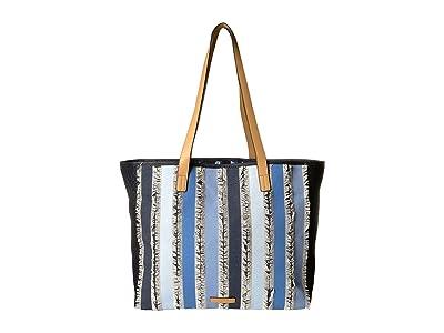 Vera Bradley Fringed Tote (Cool Stripe) Handbags