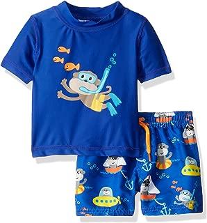 Boys' Swimsuit Set with Short Sleeve Rashguard Swim Shirt
