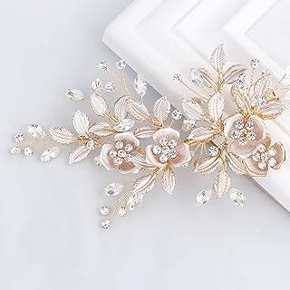 e53b8a7fa SWEETV Light Rose Gold Wedding Clip Rhinestone Bridal Comb Barrette -  Handmade Flower Clip Head Pieces