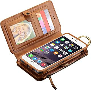 2018 Phone Covers for iPhone 6 Plus & 6s Plus & 7 Plus/Samsung / 5.5 Inch Smart Crazy Leather Case with Hook & Card Slots & Wallet & Photo Frame (Color : Brown)